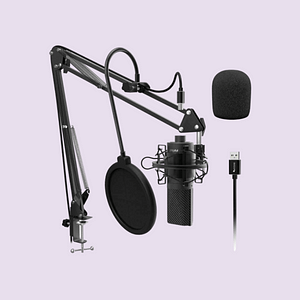 This is an upside down view of Fifine Technology's signature product called the Fifine T669 Studio Bundle.